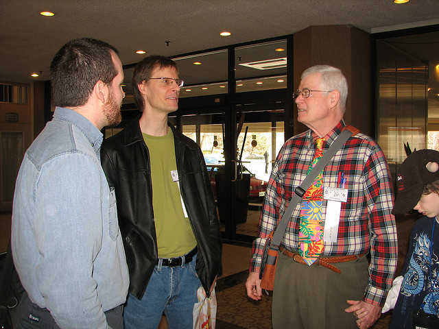 David with Christian Sauvé and Karl Schroeder, since I can't seem to find a picture with he and I in the same shot. (Photo: Kathryn Cramer)