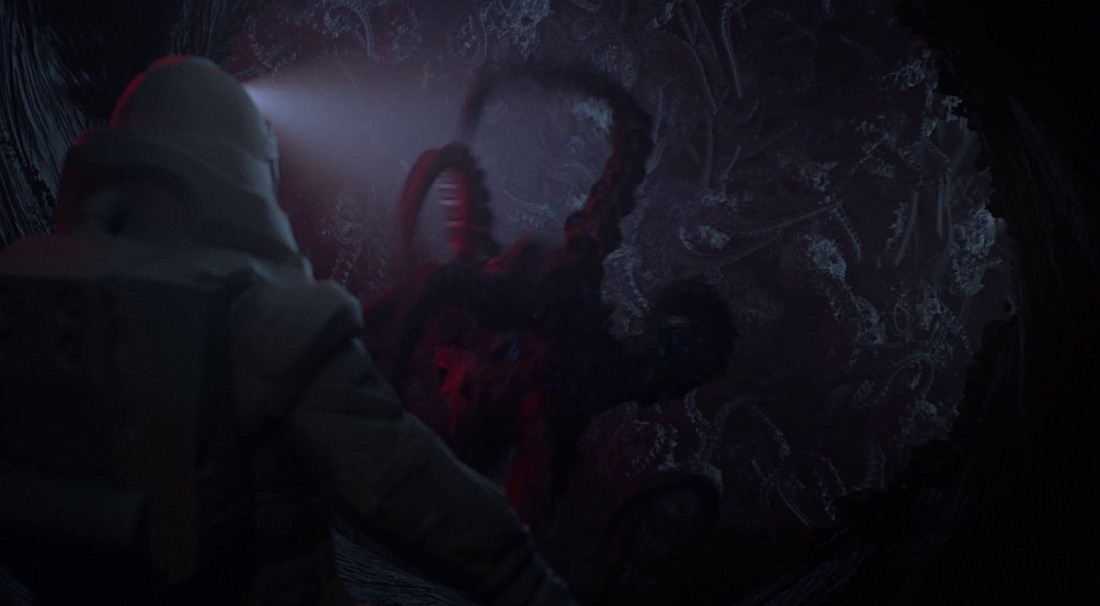 A swarm of scramblers, Rorschach interior. This screen grab cannot do justice to the sight of that wall squirming as it does. As of this writing, this scene is not in the official released teaser, but I've seen the dailies. Wow. Blindsight.space.